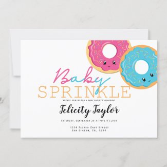 Donut Sprinkle Baby Shower Blue Pink Twins Announcement
