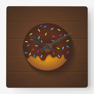 donut square wall clock
