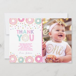 Donut Thank You Card Donut Grow Up Party Pink Gold