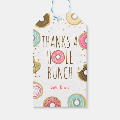 Donut thank you favor gift tags Girl Pink Doughnut
