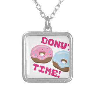 Donut Time Square Pendant Necklace