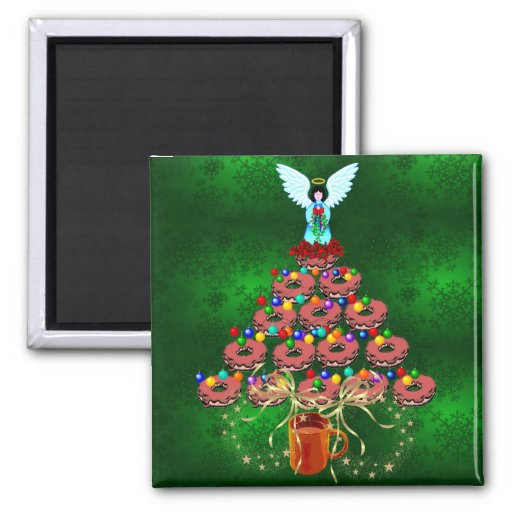 Donut Tree 2 Inch Square Magnet