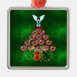 Donut Tree Square Metal Christmas Ornament