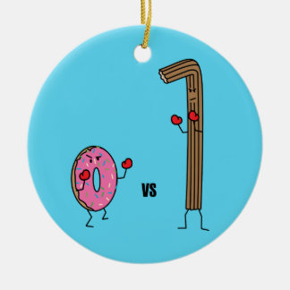 Donut versus Churro dessert fried dough sugar vs. Ceramic Ornament