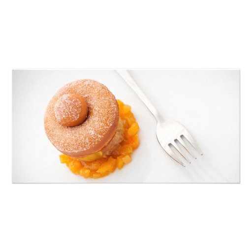 Donut with copped oranges for breakfast personalized photo card