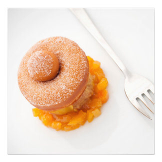 Donut with copped oranges for breakfast photographic print