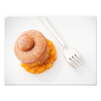 Donut with copped oranges for breakfast photo print