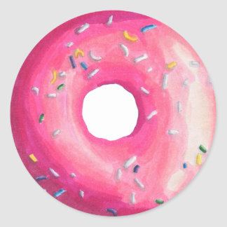 Donut With Pink Frosting And Sprinkles Classic Round Sticker