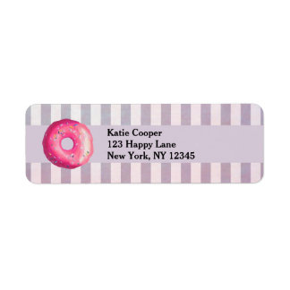 Donut With Pink Frosting And Sprinkles Label