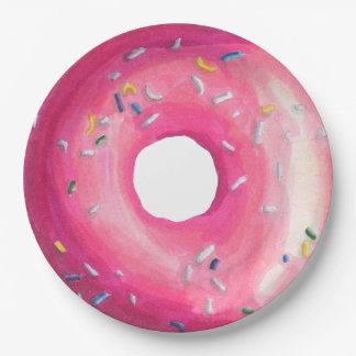 Donut With Pink Frosting And Sprinkles Paper Plate