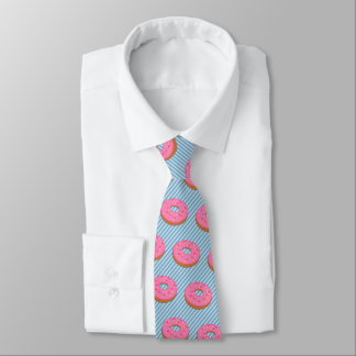 Donut with Pink Frosting - Stripe on Your Color Neck Tie