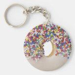 donut with sprinkles basic round button keychain