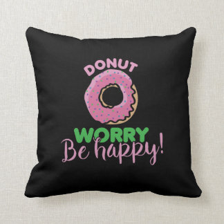 donut worry be happy donuts throw pillow