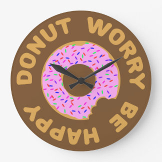 Donut Worry Be Happy Large Clock