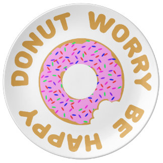 Donut Worry Be Happy Porcelain Plate