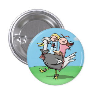 donuts and wine 1 inch round button