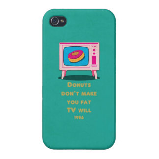 Donuts don make you fat, but TV will Funny Cartoon iPhone 4 Covers