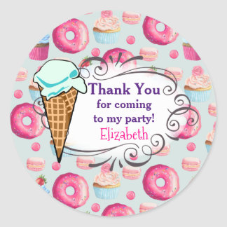 Donuts Macarons And Cupcake Party Thank You Classic Round Sticker