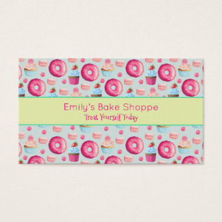 Donuts Macarons And Cupcake Pattern In Watercolor Business Card