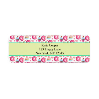 Donuts Macarons And Cupcake Pattern In Watercolor Label