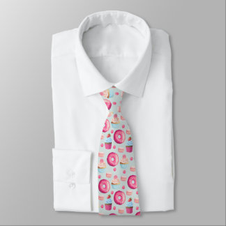 Donuts Macarons And Cupcake Pattern In Watercolor Neck Tie