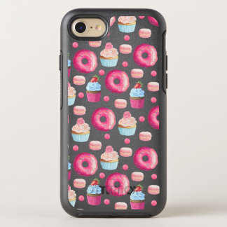 Donuts Macarons And Cupcake Pattern In Watercolor OtterBox Symmetry iPhone 7 Case