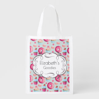 Donuts Macarons And Cupcake Pattern Personalized Reusable Grocery Bag