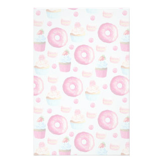 Donuts Macarons And Cupcake Pattern Stationery