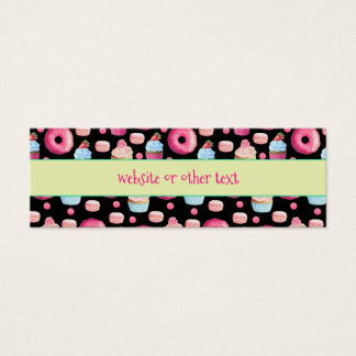 Donuts Macarons And Cupcake Pattern Website Mini Business Card