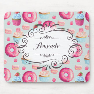 Donuts Macarons And Cupcake Whimsical Personalized Mouse Pad