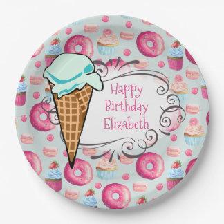 Donuts Macarons Cupcake Ice Cream Custom Birthday Paper Plate