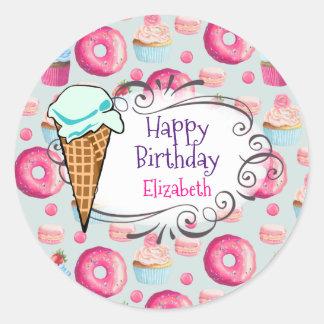 Donuts Macarons Cupcakes Happy Birthday Custom Classic Round Sticker