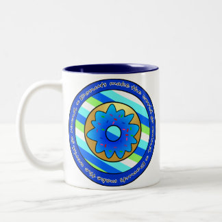 Donuts Make the World go Round - Blue Frosting Two-Tone Coffee Mug