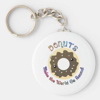 Donuts Make the World Go Round Basic Round Button Keychain