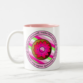 Donuts Make the World go Round - Pink Frosting Two-Tone Coffee Mug