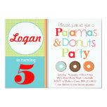 """Donuts & Pajamas Party Invitation (Boys) 5"""" X 7"""" Invitation Card"""