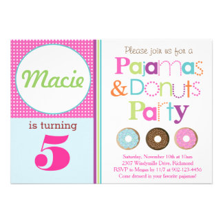 Donuts & Pajamas Party Invitation (Pink) Custom Announcement