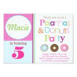 "Donuts & Pajamas Party Invitation (Pink) 5"" X 7"" Invitation Card"