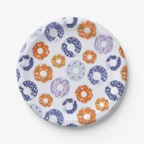Donuts pop art cool blue orange pattern paper plate