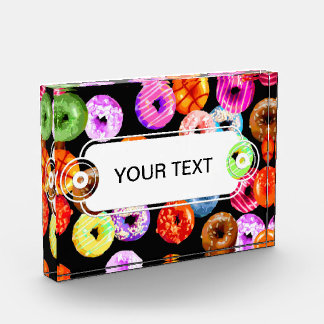 Donuts seamless pattern + your backgr. & ideas award