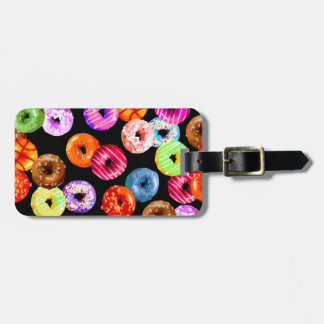 Donuts seamless pattern + your backgr. & ideas bag tag