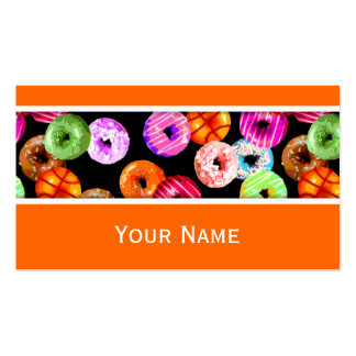 Donuts seamless pattern + your backgr. & ideas business card