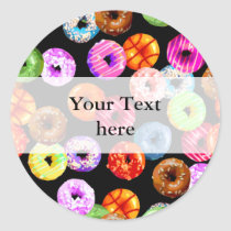 Donuts seamless pattern   your backgr. & ideas classic round sticker