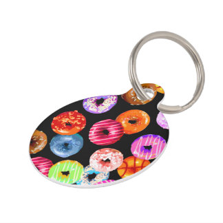 Donuts seamless pattern + your backgr. & ideas pet nametags