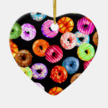 Donuts seamless pattern + your backgr. & ideas Double-Sided heart ceramic christmas ornament