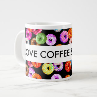 Donuts seamless pattern + your backgr. & ideas large coffee mug