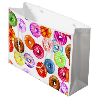 Donuts seamless pattern + your backgr. & ideas large gift bag