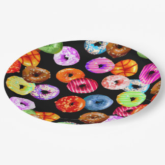 Donuts seamless pattern + your backgr. & ideas paper plate