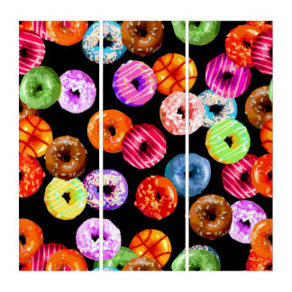 Donuts seamless pattern + your backgr. & ideas triptych