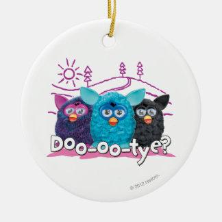 DOO-OO-TYE? 2 Double-Sided CERAMIC ROUND CHRISTMAS ORNAMENT